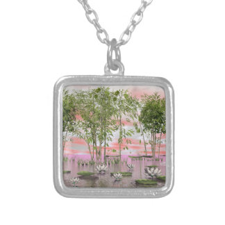 Lotus flowers and bamboos - 3D render Silver Plated Necklace