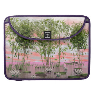 Lotus flowers and bamboos - 3D render Sleeve For MacBook Pro