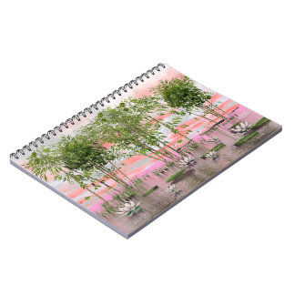 Lotus flowers and bamboos - 3D render Spiral Notebook