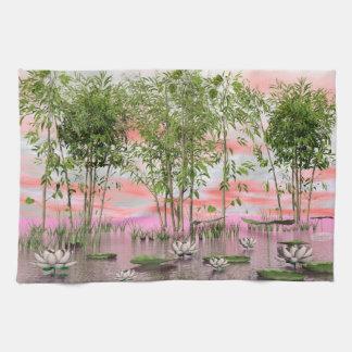 Lotus flowers and bamboos - 3D render Tea Towel