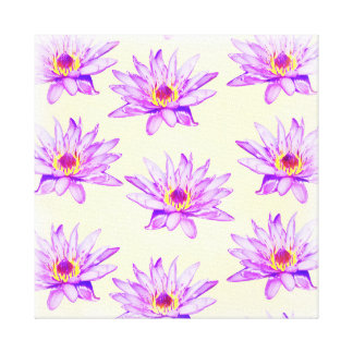 lotus flowers cream inky canvas print