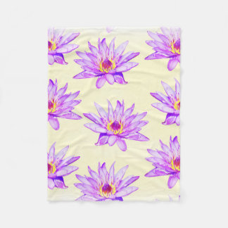 lotus flowers cream inky fleece blanket