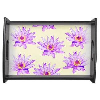 lotus flowers cream inky serving tray