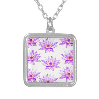 lotus flowers cream inky silver plated necklace