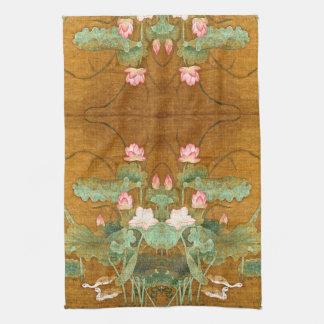 Lotus Flowers Geese Birds Asian Kitchen Towel