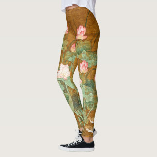 Lotus Flowers Lilypad Bird All Over Print Leggings