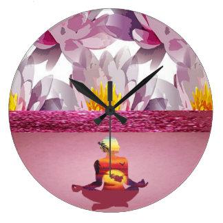 Lotus Flowers Meditation Lady Clock