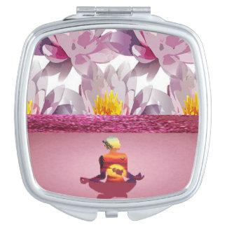 Lotus Flowers Meditation Lady Travel Mirror