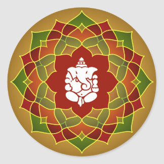 Lotus Ganesha Design Classic Round Sticker