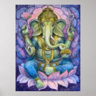 Lotus Ganesha Hindu Art Poster