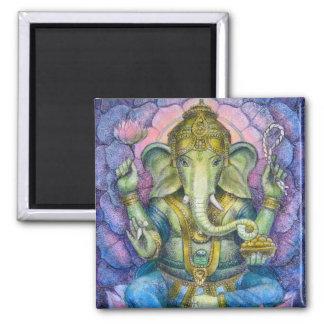 Lotus Ganesha Square Magnet