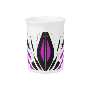 LOTUS hand painted blackwhite Pitcher
