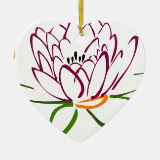 Lotus Heart Ceramic Heart Decoration