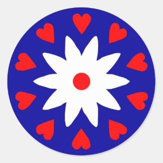 Lotus Heart Round Sticker