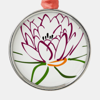 Lotus Heart Silver-Colored Round Decoration