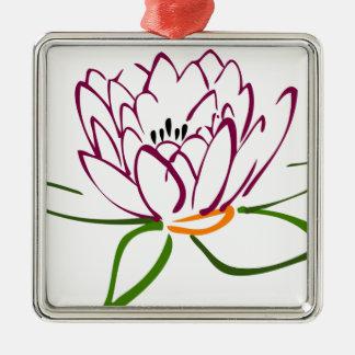 Lotus Heart Silver-Colored Square Decoration