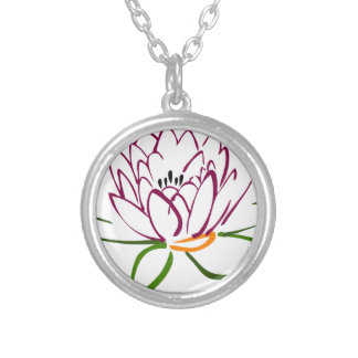 Lotus Heart Silver Plated Necklace