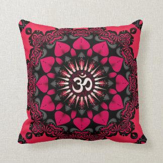 Lotus Love OM Mandala Pink Black Cushion / Pillow