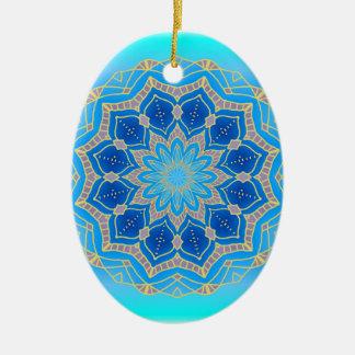 Lotus mandala in turquoise and blue ceramic ornament