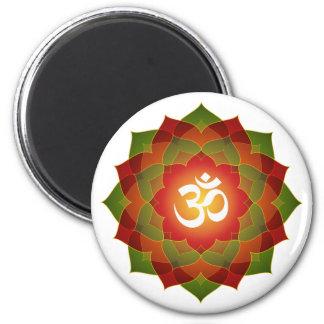 Lotus Om Design 6 Cm Round Magnet