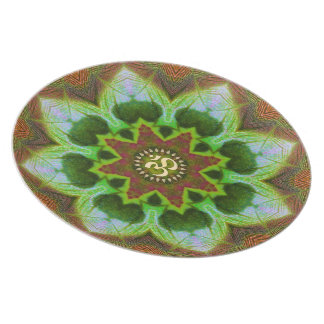 Lotus Om Mandala Geometric Art Plate