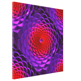 Lotus Pattern Glass Art 3A Gallery Wrapped Canvas