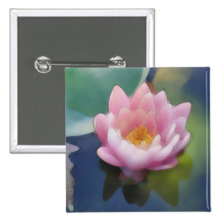Lotus Pink Flower with Reflection Wrapped Canvas 15 Cm Square Badge