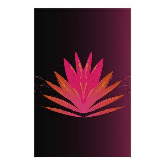 Lotus pink on black stationery