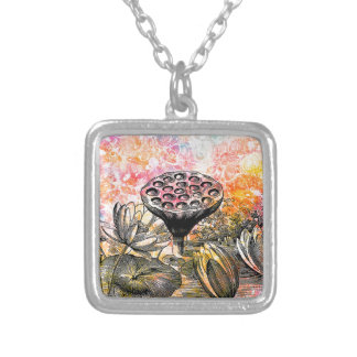 LOTUS POD SILVER PLATED NECKLACE