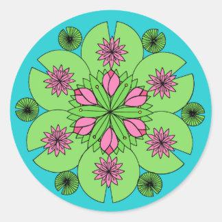Lotus Pond Mandala Round Sticker