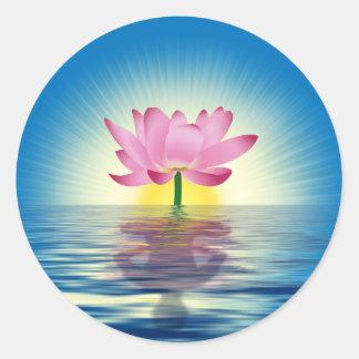 Lotus Reflection Round Sticker