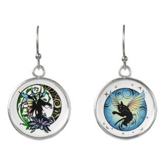Lotus Shadow Fairy and Cosmic Kitty Earrings