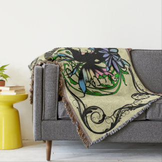 Lotus Shadow Fairy Throw Blanket