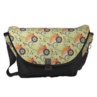Lotus & skulls messenger bag