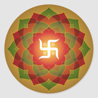 Lotus Swastika Design Classic Round Sticker