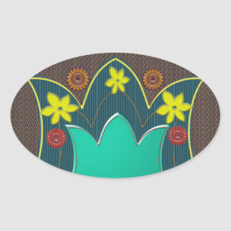 LOTUS Temple Art Refreshing Healing Colors GIFTS Oval Stickers