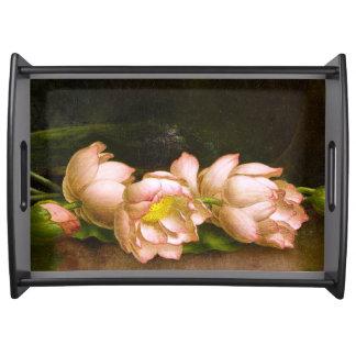 Lotus Waterlily Flowers Heade Serving Tray
