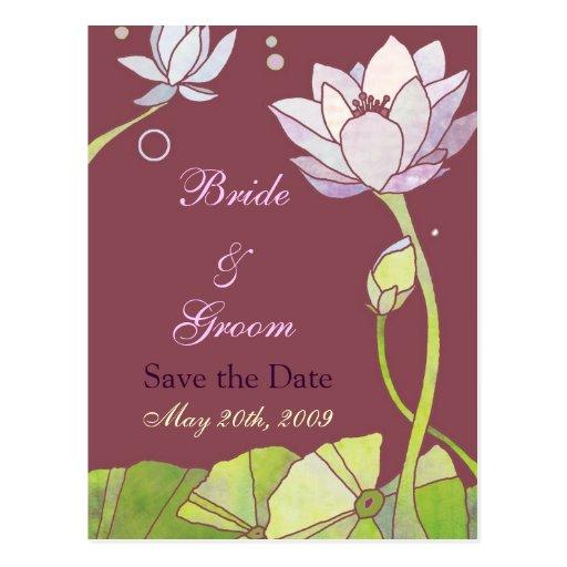 Lotus Wedding Save the Date Postcards