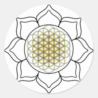 Lotus White2 Classic Round Sticker