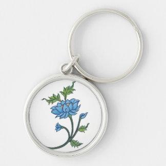 Lotus_(WhiteTara) Silver-Colored Round Key Ring