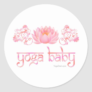 Lotus yoga baby classic round sticker