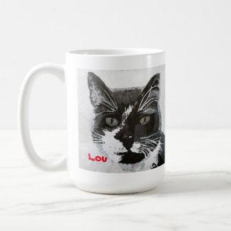 """""""Lou"""" Cat Head Art Mug - fundraiser TNR cat colony"""