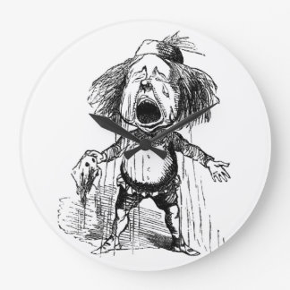 Loud Crying Boy Funny Cartoon Drawing Tears Large Clock