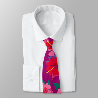 Loud hibiscus flower art tie in plum