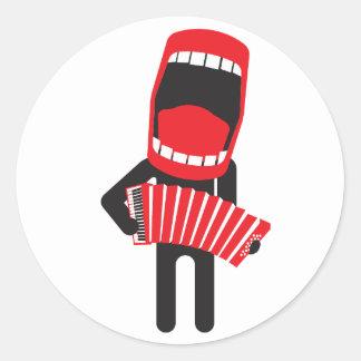loud singing accordion player round sticker