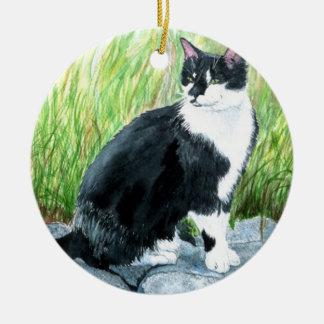 Louie the Tuxedo Cat Ceramic Ornament