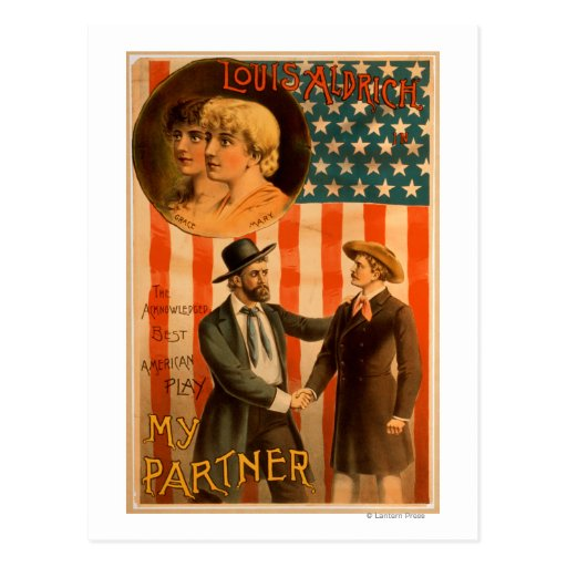 Louis Aldrich in My partner Theatrical Play Post Cards