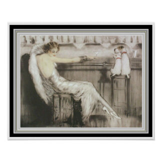 """Louis Icart """"Cocktail Bar""""  16 x 20 Poster"""