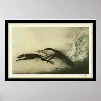 """Louis Icart """"Racing Greyhounds"""" Art Deco Print"""