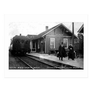 Louis Pesha Ann Arbor Railroad Depot Shepherd, MI Postcard